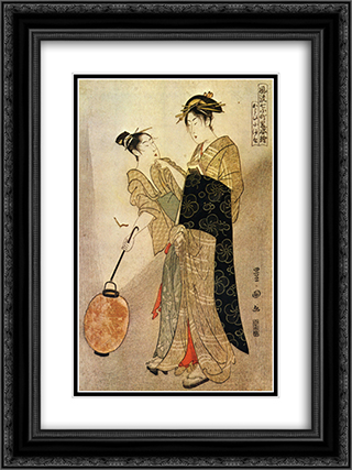 Courting Komachi 18x24 Black or Gold Ornate Framed and Double Matted Art Print by Utagawa Toyokuni