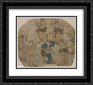 Dance 22x20 Black or Gold Ornate Framed and Double Matted Art Print by Utagawa Toyokuni