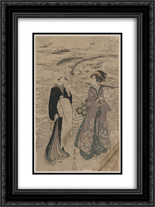 Fishing net 18x24 Black or Gold Ornate Framed and Double Matted Art Print by Utagawa Toyokuni