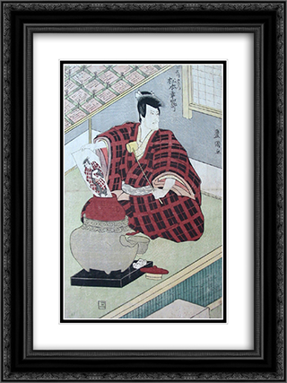Ishikawa Goemon pulling a painting of himself out of a lidded jar 18x24 Black or Gold Ornate Framed and Double Matted Art Print by Utagawa Toyokuni