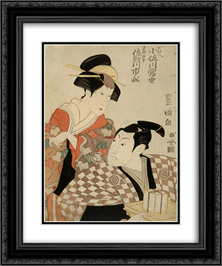 Kabuki Actors Sanogawa Ichimatsu II as Hayano Kampei and Osagawa Tsuneyo as Onoe 20x24 Black or Gold Ornate Framed and Double Matted Art Print by Utagawa Toyokuni