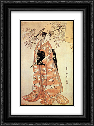 Nakamura Nosio the second performs the dance Dodzedzi 18x24 Black or Gold Ornate Framed and Double Matted Art Print by Utagawa Toyokuni