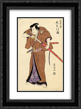 The actor Otani Monzo in the role of Igarashi Tenzen 18x24 Black or Gold Ornate Framed and Double Matted Art Print by Utagawa Toyokuni