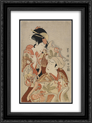 The actors Matsumoto Yonesaburo I and Nakamura Denkuro IV 18x24 Black or Gold Ornate Framed and Double Matted Art Print by Utagawa Toyokuni