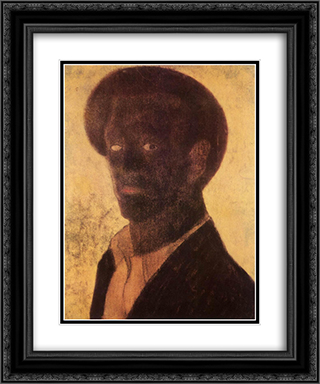 Black Self-Portrait 20x24 Black or Gold Ornate Framed and Double Matted Art Print by Vajda Lajos