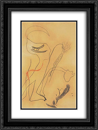 Composition with Braided Hair 18x24 Black or Gold Ornate Framed and Double Matted Art Print by Vajda Lajos