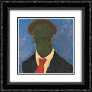 Dark Self-Portrait 20x20 Black or Gold Ornate Framed and Double Matted Art Print by Vajda Lajos