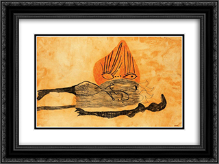 Fire-Eye 24x18 Black or Gold Ornate Framed and Double Matted Art Print by Vajda Lajos