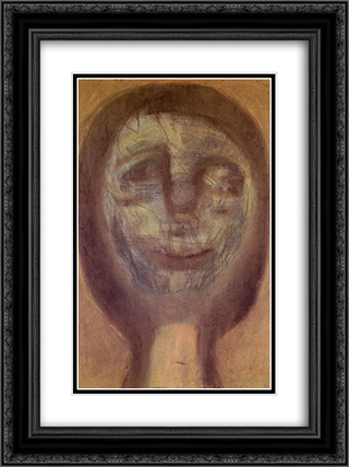 Green Clown Mask 18x24 Black or Gold Ornate Framed and Double Matted Art Print by Vajda Lajos