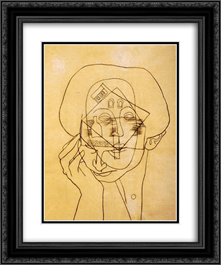 Head with House 20x24 Black or Gold Ornate Framed and Double Matted Art Print by Vajda Lajos