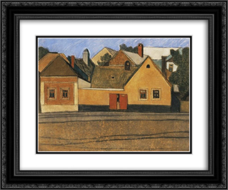 Houses in Szentendre with Blue Sky 24x20 Black or Gold Ornate Framed and Double Matted Art Print by Vajda Lajos