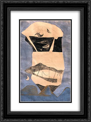 Huge Landscape Mask 18x24 Black or Gold Ornate Framed and Double Matted Art Print by Vajda Lajos
