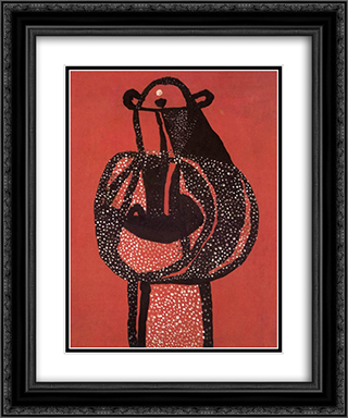 Mask Icon 20x24 Black or Gold Ornate Framed and Double Matted Art Print by Vajda Lajos