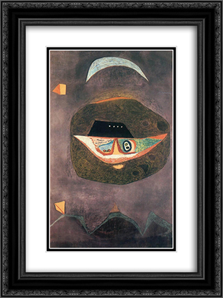Mask with Moon 18x24 Black or Gold Ornate Framed and Double Matted Art Print by Vajda Lajos