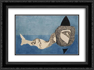 Monster in Blue Space 24x18 Black or Gold Ornate Framed and Double Matted Art Print by Vajda Lajos