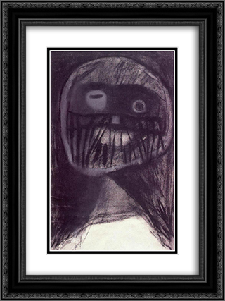 Monster's Head 18x24 Black or Gold Ornate Framed and Double Matted Art Print by Vajda Lajos