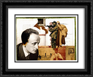 Montage with the Portrait of Lajos Szabo 24x20 Black or Gold Ornate Framed and Double Matted Art Print by Vajda Lajos