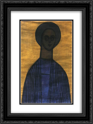 Self Portrait with Icon 18x24 Black or Gold Ornate Framed and Double Matted Art Print by Vajda Lajos