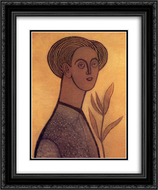 Self-portrait 20x24 Black or Gold Ornate Framed and Double Matted Art Print by Vajda Lajos