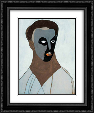 Self-Portrait in a Mask 20x24 Black or Gold Ornate Framed and Double Matted Art Print by Vajda Lajos