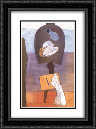 Still-life on a Table of Horseshoe Form 18x24 Black or Gold Ornate Framed and Double Matted Art Print by Vajda Lajos