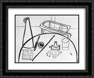 Table Still-life with Armchair 24x20 Black or Gold Ornate Framed and Double Matted Art Print by Vajda Lajos
