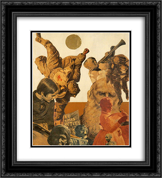 Tolstoj and Gandhi 20x22 Black or Gold Ornate Framed and Double Matted Art Print by Vajda Lajos