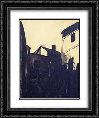 View of Szentendre 20x24 Black or Gold Ornate Framed and Double Matted Art Print by Vajda Lajos