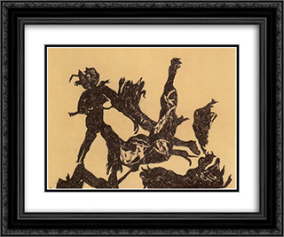 War - fight 24x20 Black or Gold Ornate Framed and Double Matted Art Print by Vajda Lajos