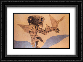 Winged Creature on Silvery Ground 24x18 Black or Gold Ornate Framed and Double Matted Art Print by Vajda Lajos