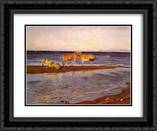 Horses on a Shore 24x20 Black or Gold Ornate Framed and Double Matted Art Print by Valentin Serov