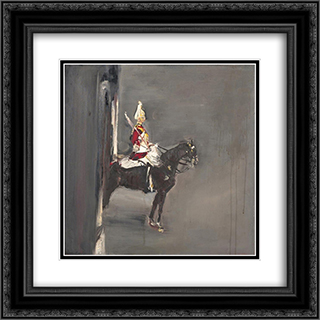 A Guard on Horseback in London 20x20 Black or Gold Ornate Framed and Double Matted Art Print by Varlin