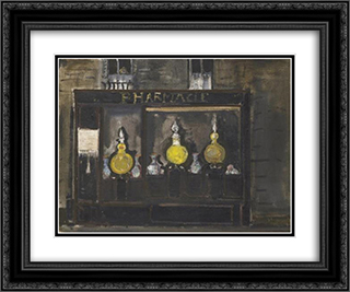 Apotheke in Paris 24x20 Black or Gold Ornate Framed and Double Matted Art Print by Varlin
