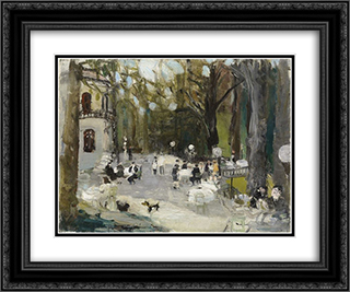 Cafe im Zurcher Belvoir - Park 24x20 Black or Gold Ornate Framed and Double Matted Art Print by Varlin