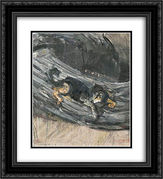 Der Hund Lapponio 20x22 Black or Gold Ornate Framed and Double Matted Art Print by Varlin