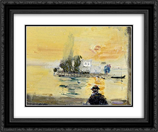 Insel Salagnon bei Clarens 24x20 Black or Gold Ornate Framed and Double Matted Art Print by Varlin