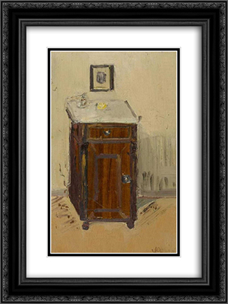 Night Table 18x24 Black or Gold Ornate Framed and Double Matted Art Print by Varlin