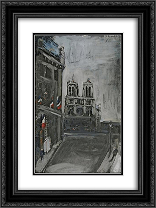 Notre - Dame in Paris 18x24 Black or Gold Ornate Framed and Double Matted Art Print by Varlin
