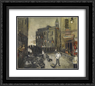 Platz in Neapel 22x20 Black or Gold Ornate Framed and Double Matted Art Print by Varlin