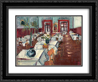 Restaurant Interior 24x20 Black or Gold Ornate Framed and Double Matted Art Print by Varlin