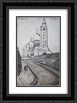 Rue de la Bonne 18x24 Black or Gold Ornate Framed and Double Matted Art Print by Varlin