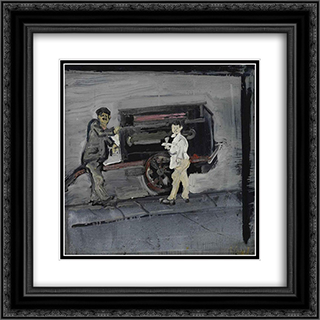 Scugnizzo vor einer Drehorgel in Neapel 20x20 Black or Gold Ornate Framed and Double Matted Art Print by Varlin