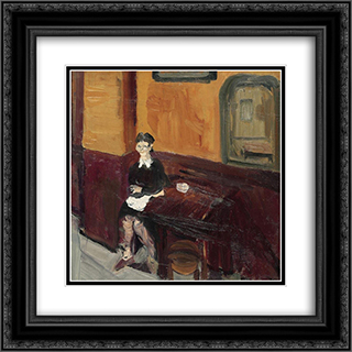 Sommeliere (Waitress in Bistro) 20x20 Black or Gold Ornate Framed and Double Matted Art Print by Varlin