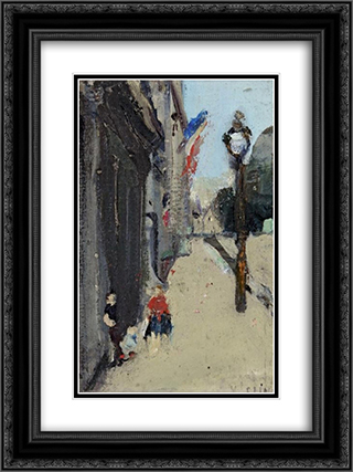 Strasse in Paris 18x24 Black or Gold Ornate Framed and Double Matted Art Print by Varlin