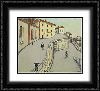 Via San Vittore (Locarno) 22x20 Black or Gold Ornate Framed and Double Matted Art Print by Varlin
