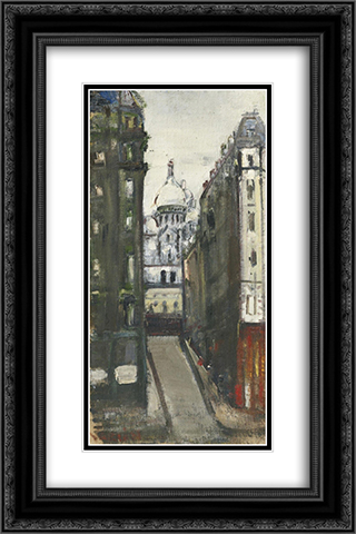 View onto Sacre - Coeur, Montmartre 16x24 Black or Gold Ornate Framed and Double Matted Art Print by Varlin