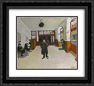 Waiting Room in Ouchy 22x20 Black or Gold Ornate Framed and Double Matted Art Print by Varlin