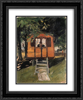 Zirkuswagen mit Hund 20x24 Black or Gold Ornate Framed and Double Matted Art Print by Varlin