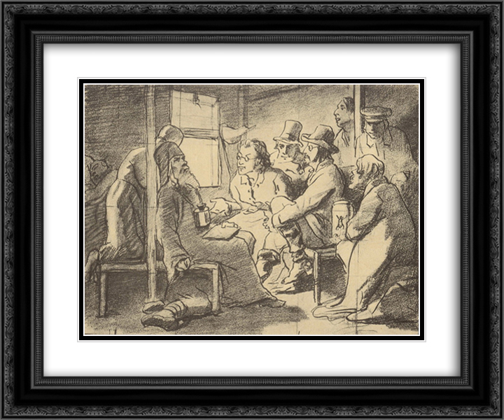 Dispute about faith (a scene in the car) 24x20 Black or Gold Ornate Framed and Double Matted Art Print by Vasily Perov