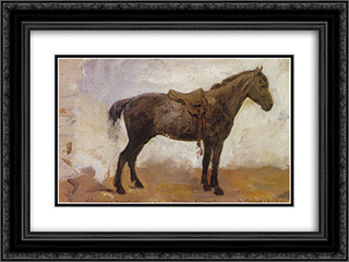 Horse Mishka 24x18 Black or Gold Ornate Framed and Double Matted Art Print by Vasily Polenov